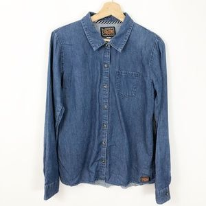 Volcom Button Down Chambray Denim Shirt, Large